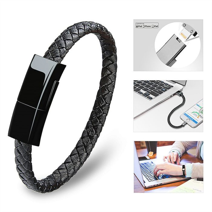 Charger Cord Braided Leather Bracelet