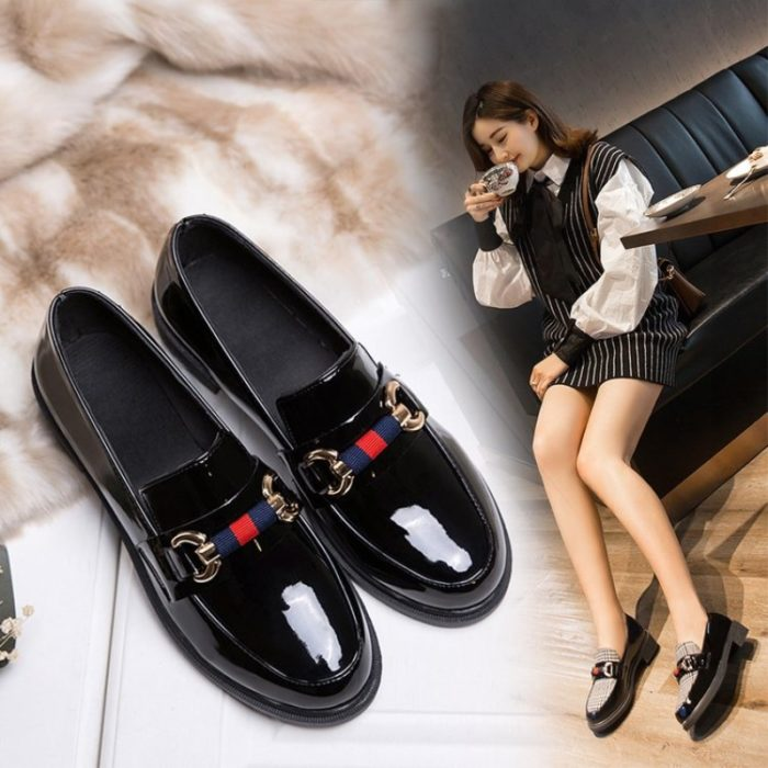 Leather Loafers Women Casual Shoes