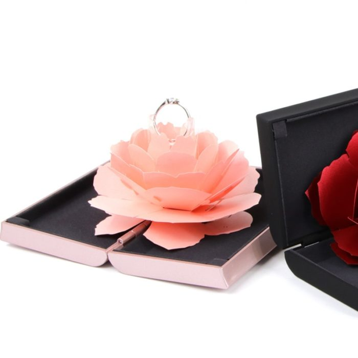 Engagement Ring Box Rotating Rose