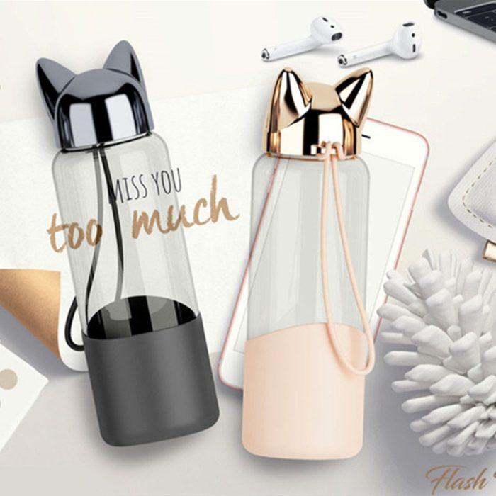 Glass Water Bottle Cat Ears Design