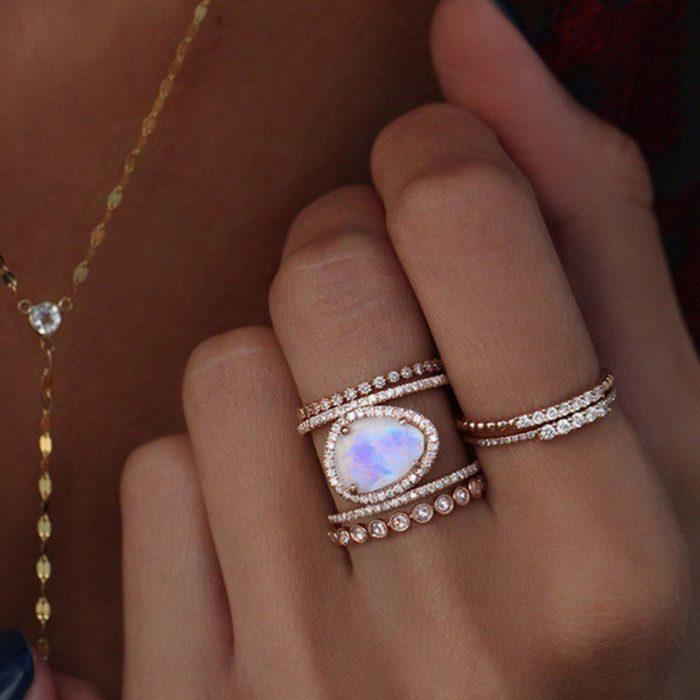 Moonstone Jewelry H Shape Ring