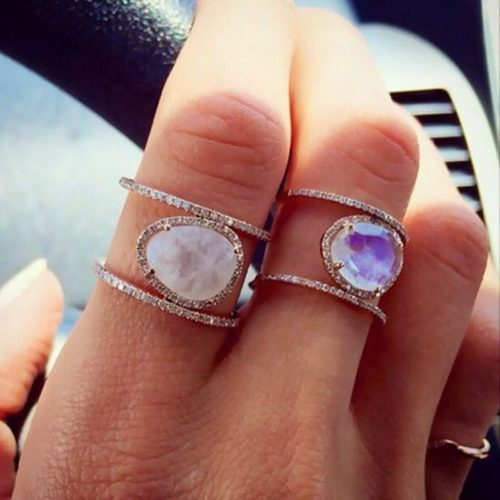Moonstone Jewelry H Shape Ring