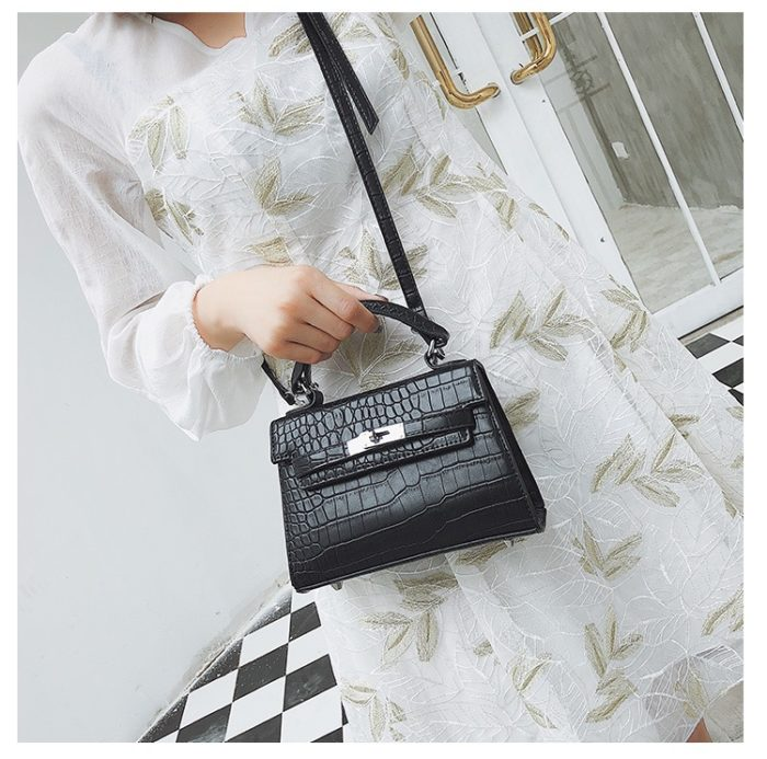 Leather Handbags Crocodile Pattern Bag