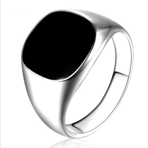 Mens Fashion Rings Black Enamel