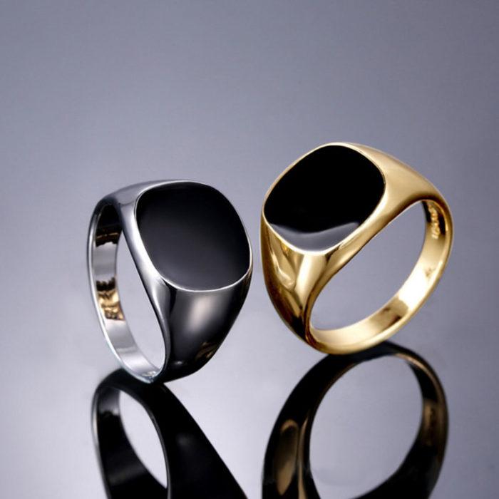 Mens Fashion Rings Black Enamel