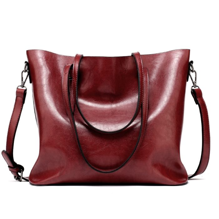Tote Bag with Zipper Leather Handbag