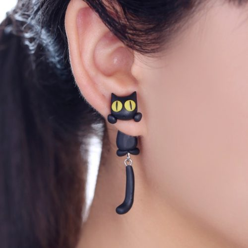 Cat Earrings 3D Polymer Clay