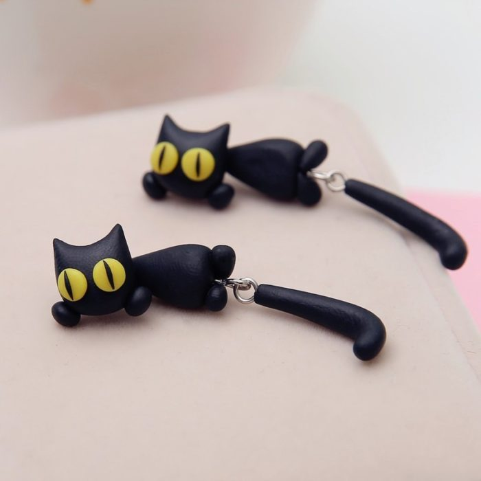 Cat Earrings 3D Polymer Clay