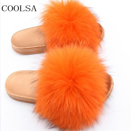 Furry Slippers Raccoon Fur