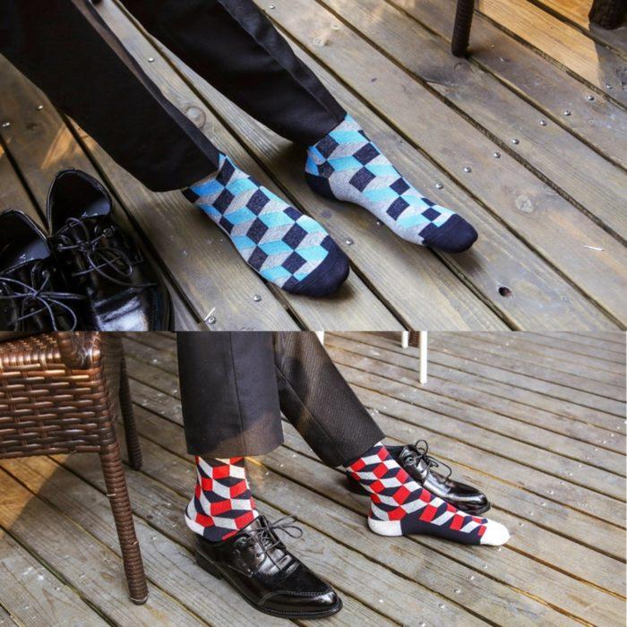 Cotton Socks Colorful Plaid Patterns