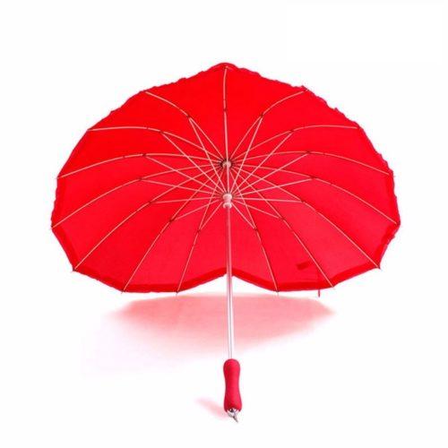 Red Umbrella Heart-Shaped Design