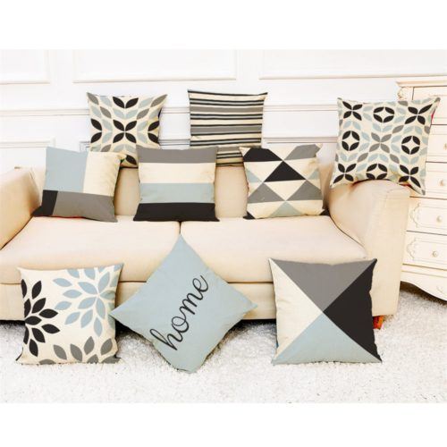 Throw Pillow Covers Printed Linen