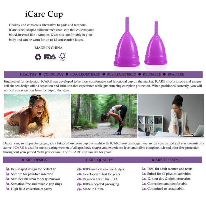 Menstrual Cup Reusable Medical Grade Silicone
