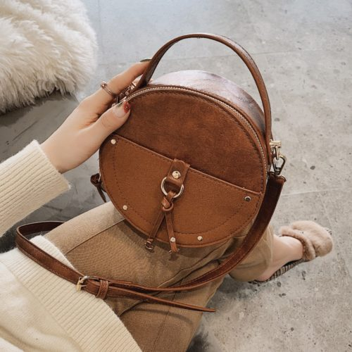 Round Bag Vintage Leather Crossbody