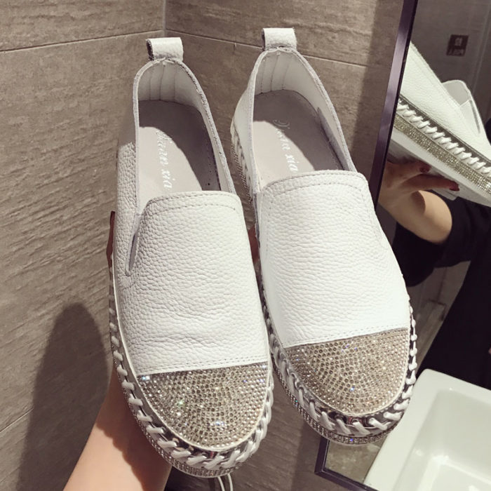 White Espadrilles Leather Loafers
