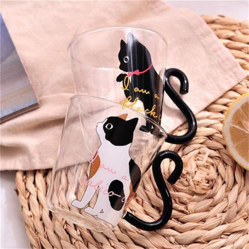 Glass Mugs Cat Creative Cups