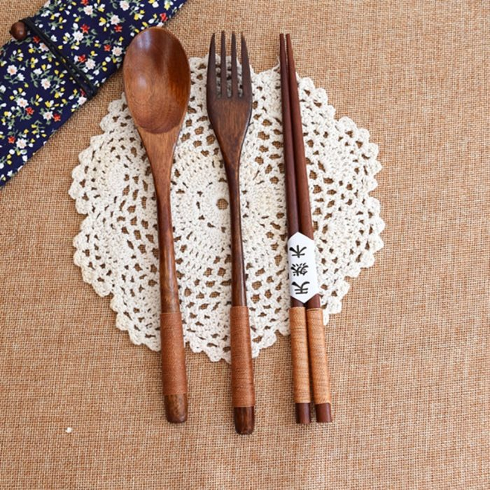 Kitchen Utensil Set Wooden Spoon and Fork