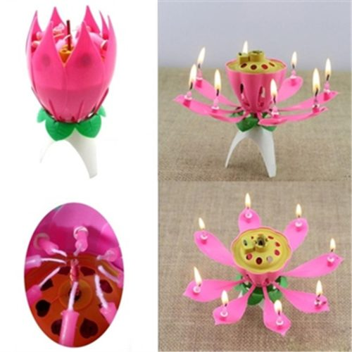 Flower Candle Musical Lotus Lights