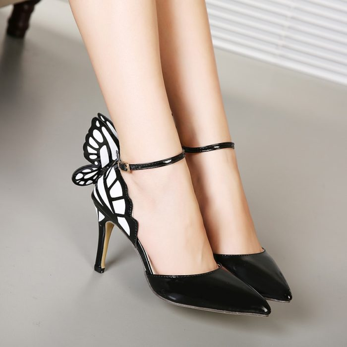 Butterfly Shoes Pointed High Heels