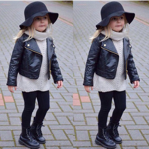 Kids Leather Jacket Children Coat