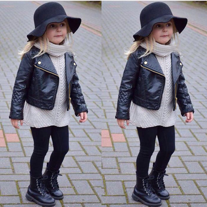 Kids Leather Jacket Children Coat