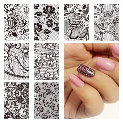 Nail Tattoo Lace Flower Designs