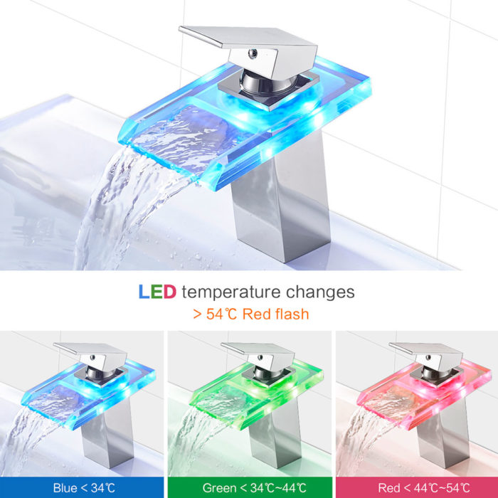 Waterfall Faucet LED Colour Changing Tap