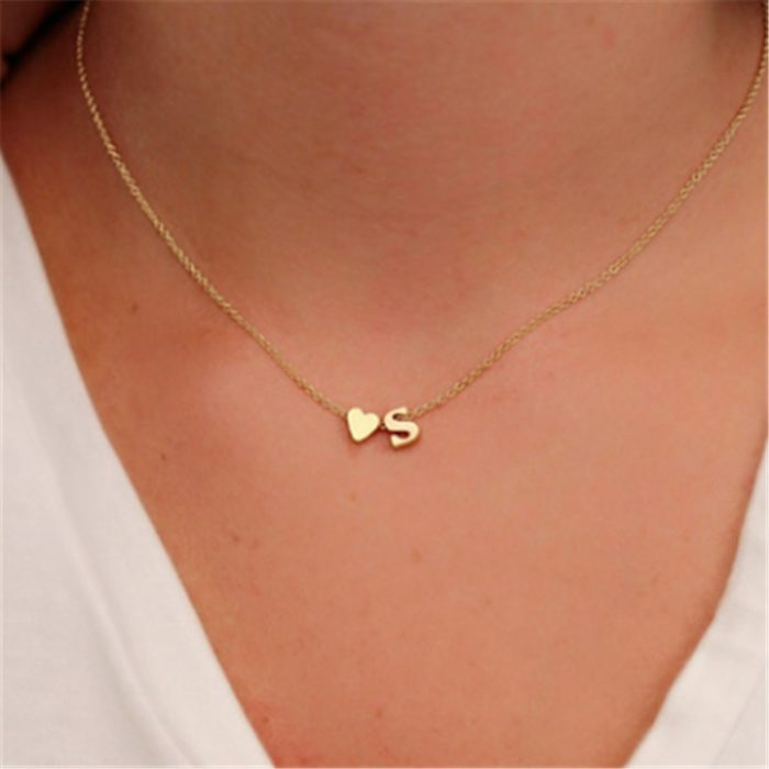 Dainty Necklaces Tiny Letter Pendant