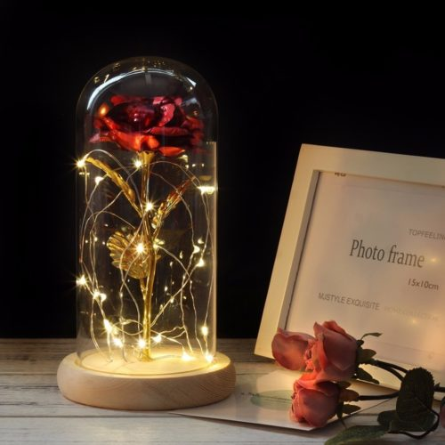 Enchanted Rose Glass Dome Lamp