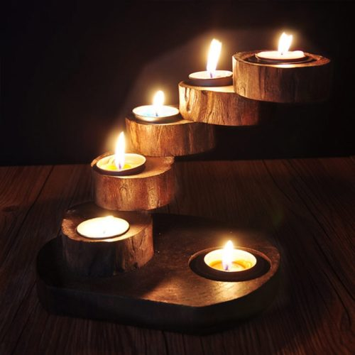 Wooden Candle Holders Retro Design