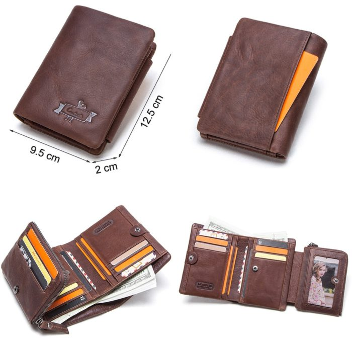 Trifold Wallet Men Leather Purse