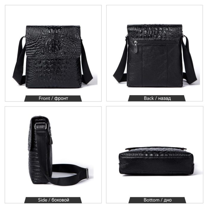 Black Crossbody Bag Alligator Pattern