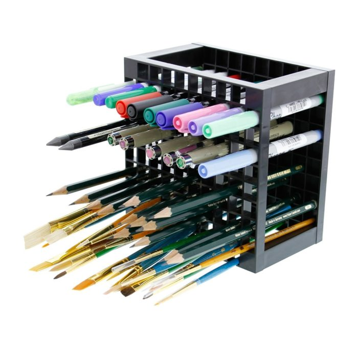 "[sc name=""bullets""] Can store any kind of pen and brushes with slim design Very sturdy construction made from durable material Saves space in the drawer and desks Materials: Plastic Size: 14.5 x 14.5 x 9 cm / Hole size: 12 x 12 mm Package List: 1 x Pen Stand 96 Slots Desk Organizer"