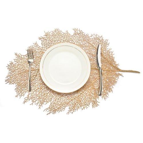 Table Placemats Gold Leaf Decor
