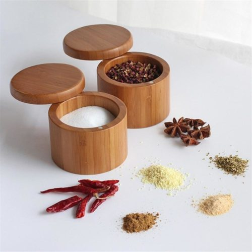 Wooden Spice Rack Bamboo Container