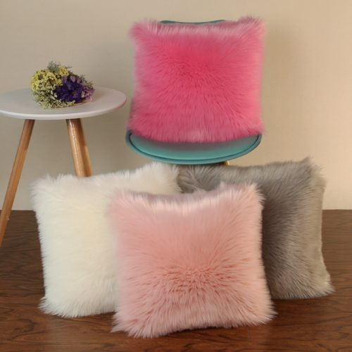 Decorative Pillow Covers Fur Case
