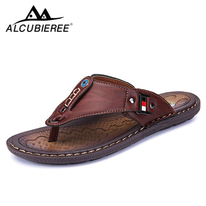 Men Leather Flip Flops Non-Slide