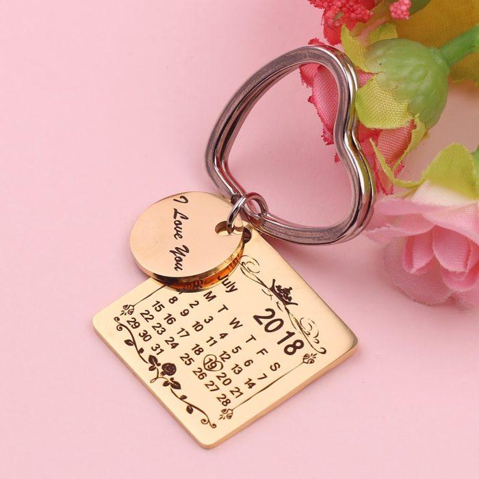 Engraved Keychains Calendar Design