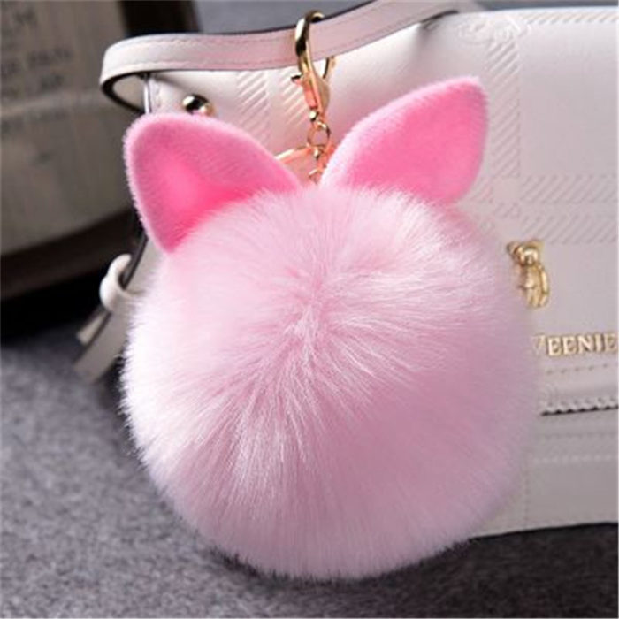 Bag Charms Rabbit Pom Pom Keychain