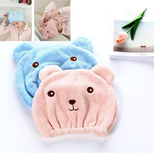 Hair Towel Wrap Microfiber Bear Cap