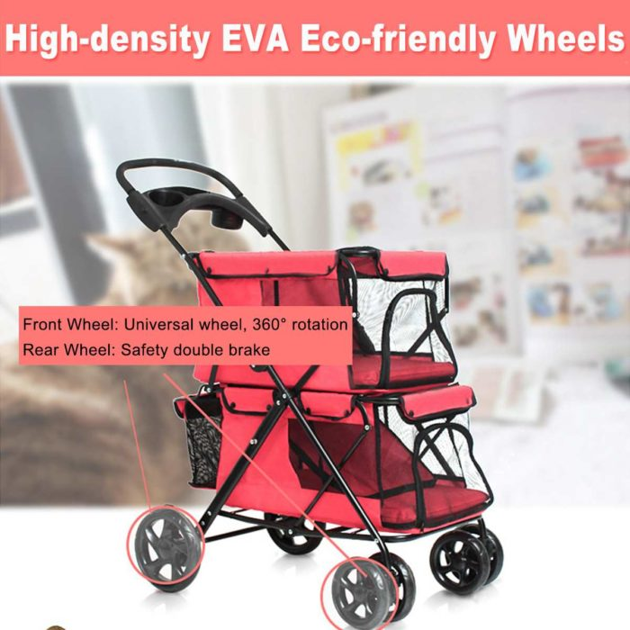 Dog Stroller Double Cart Cage