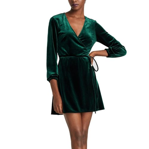 Velvet Wrap Dress Long Sleeves