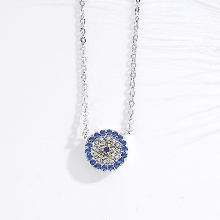 Evil Eye Necklace Sterling Silver Jewelry