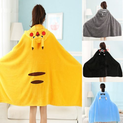 Wearable Blanket Velvet Hooded Cape