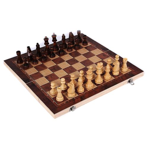 Wooden Chess Set 3-in-1 Travel Kit