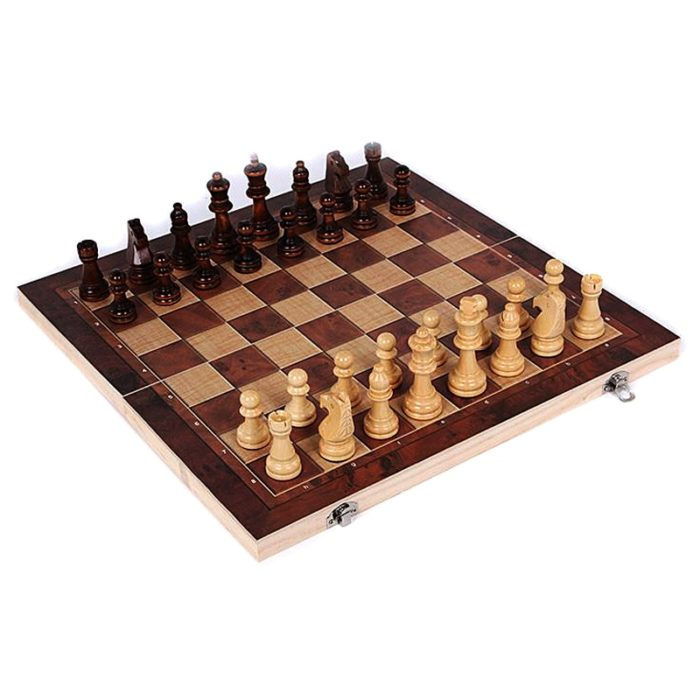 Wooden Chess Set 3-in-1 Travel Kit