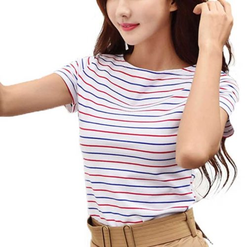 Striped Top Ladies Basic Look