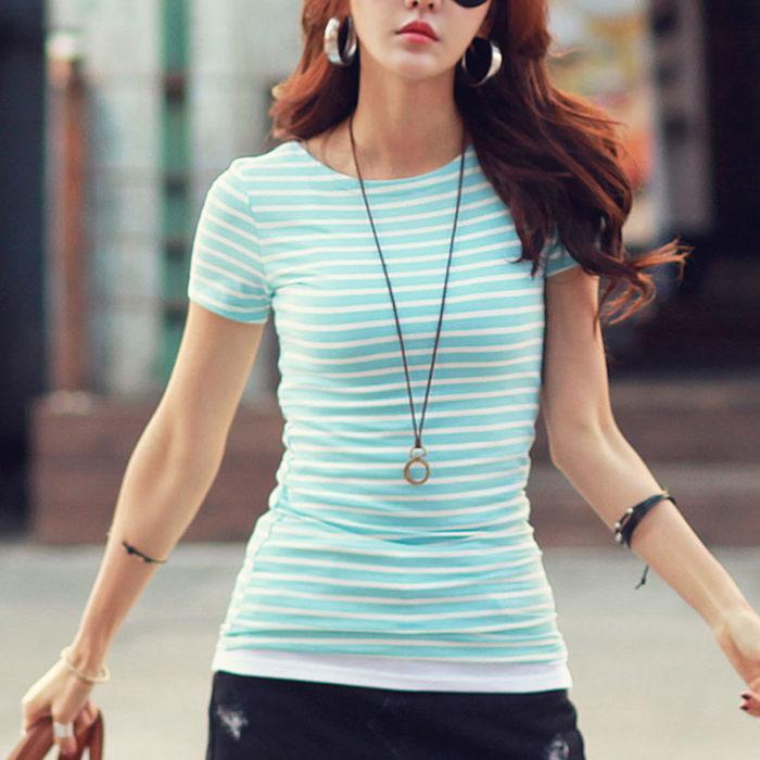 Striped Top Ladies Basic Look