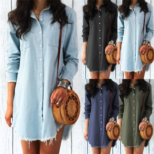 Denim Shirt Dress Casual Wear