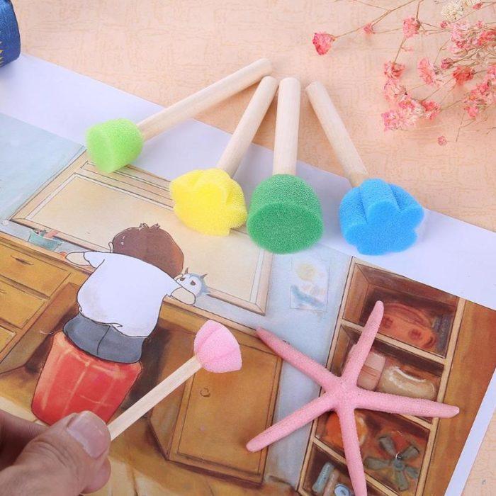Paintbrushes Wooden Sponge Set